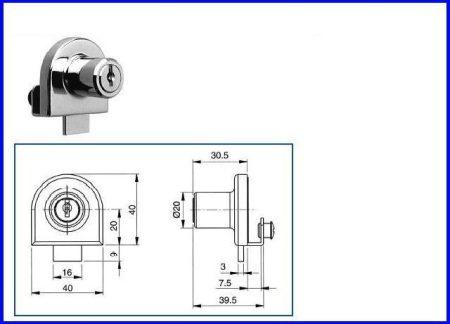 Vitrinzár nyíló üvegajtóhoz, egyszárnyú OJ 917-201